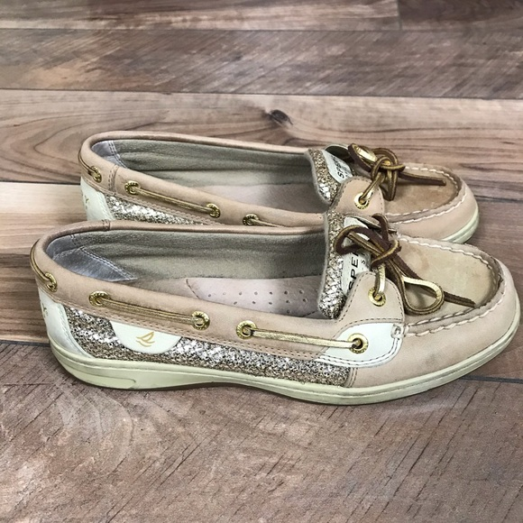 Sperry Gold Sequin Tan Leather Top Siders 7M